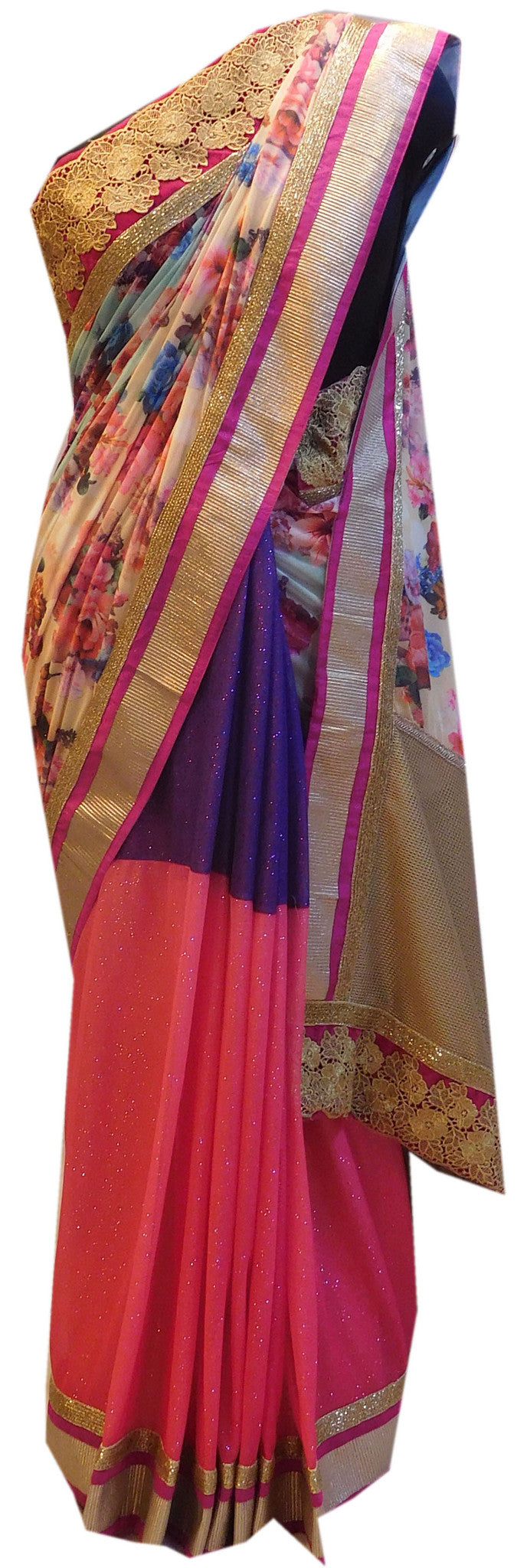 Purple Pink Boutique Style Saree