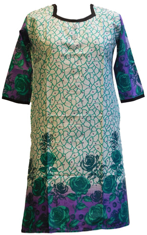 Green, Blue & White Designer Cotton (Chanderi) Printed Kurti
