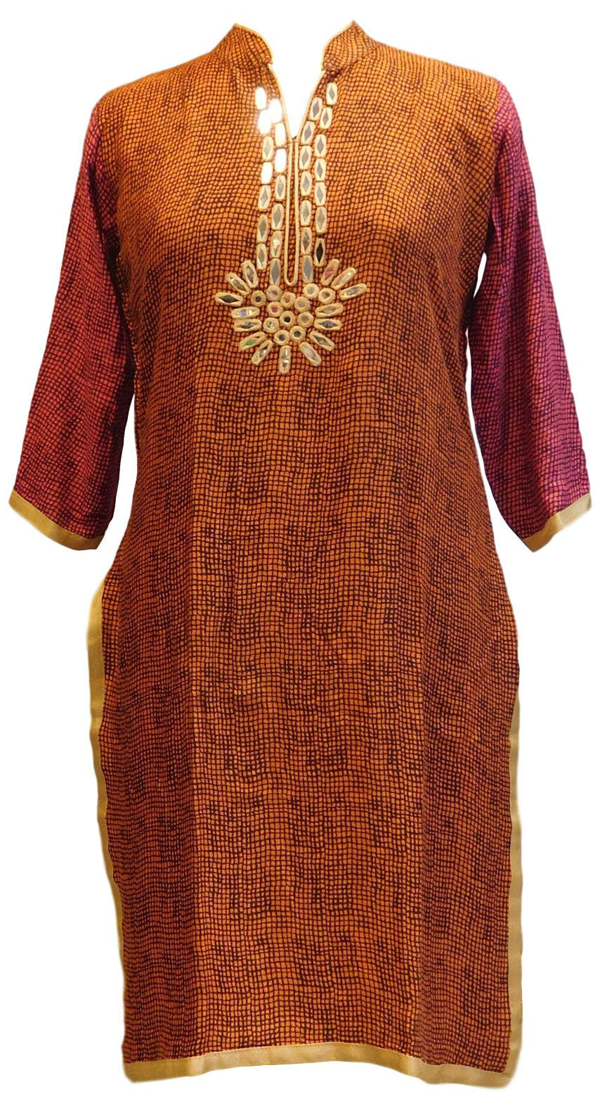 Brown Designer Cotton (Rayon) Kurti With Real Mirror Work