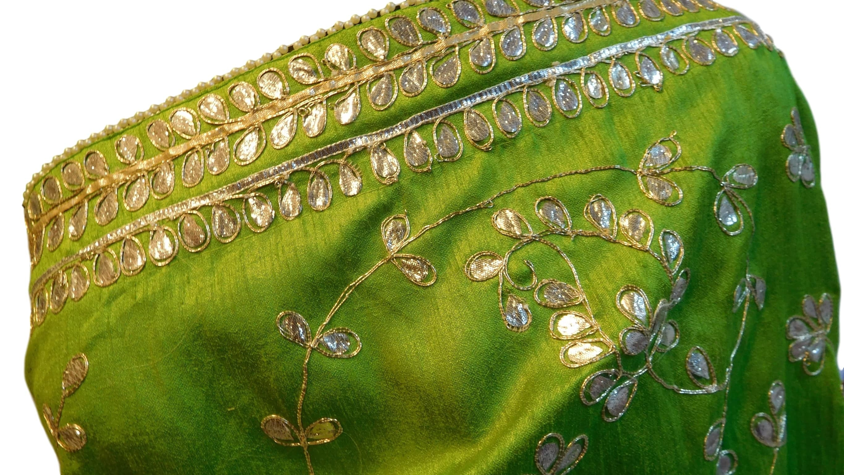 Mehndi Green Designer Gota Work Raw Silk Sari Saree