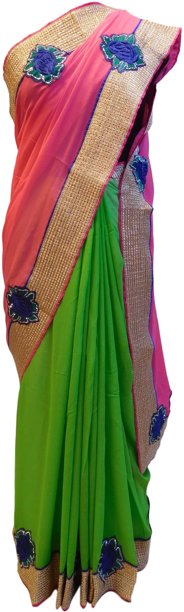 Pink & Green Designer Georgette (Viscos) Sari Saree