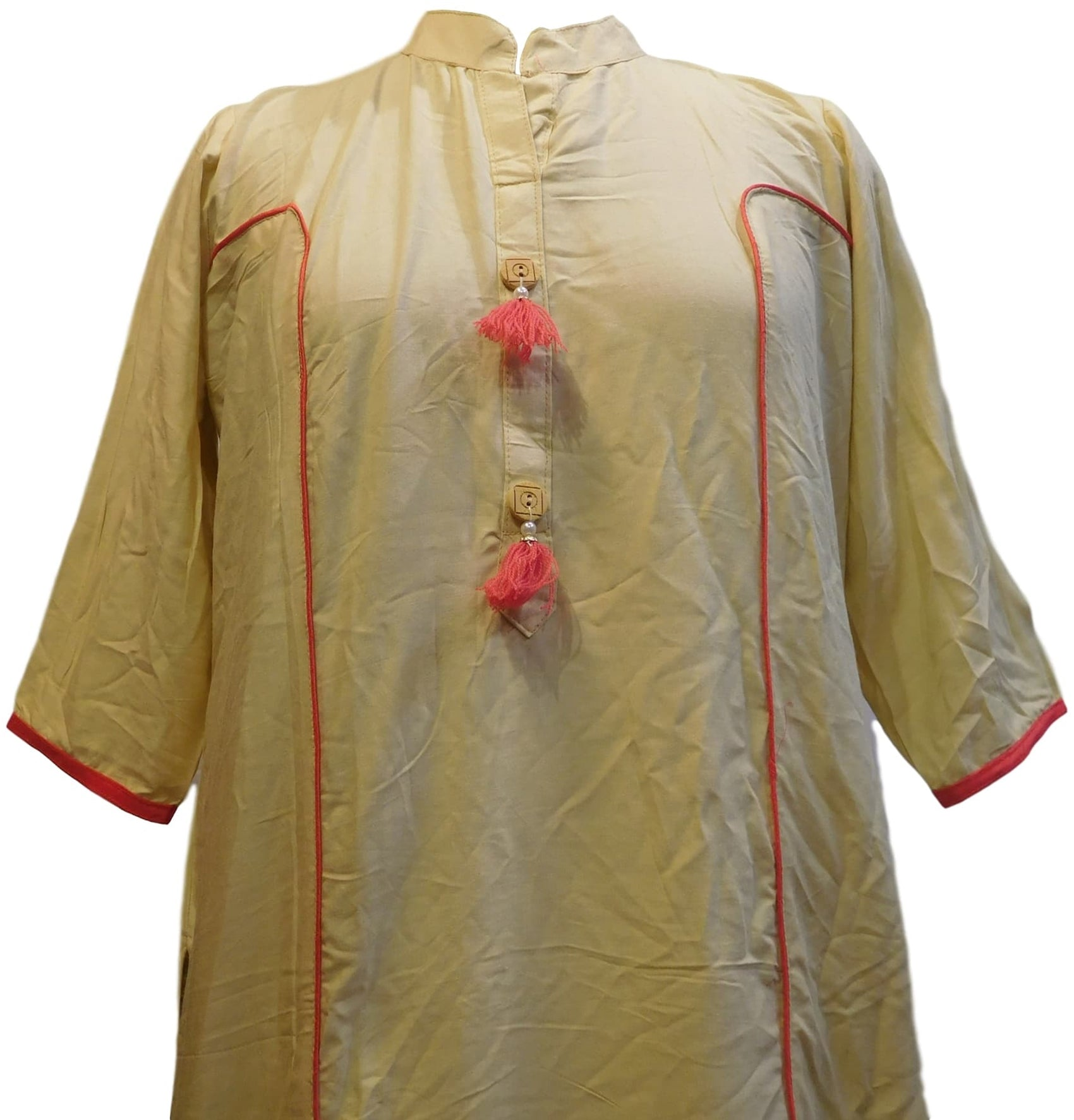 Beige Designer Cotton (Rayon) Solid Colour Kurti Kurta With Pink Pipin