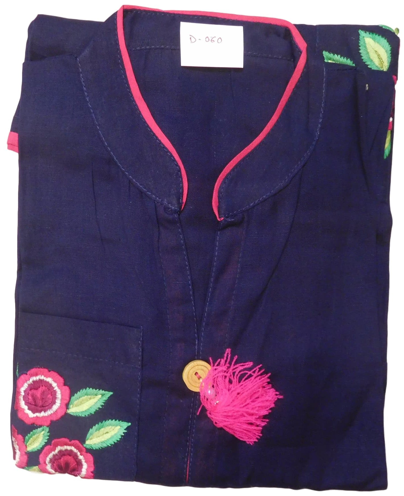 Blue Designer Pure Cotton Thread Work Kurti Kurta