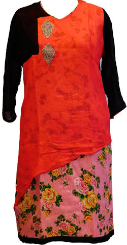 Red & Black Designer Georgette Kurti
