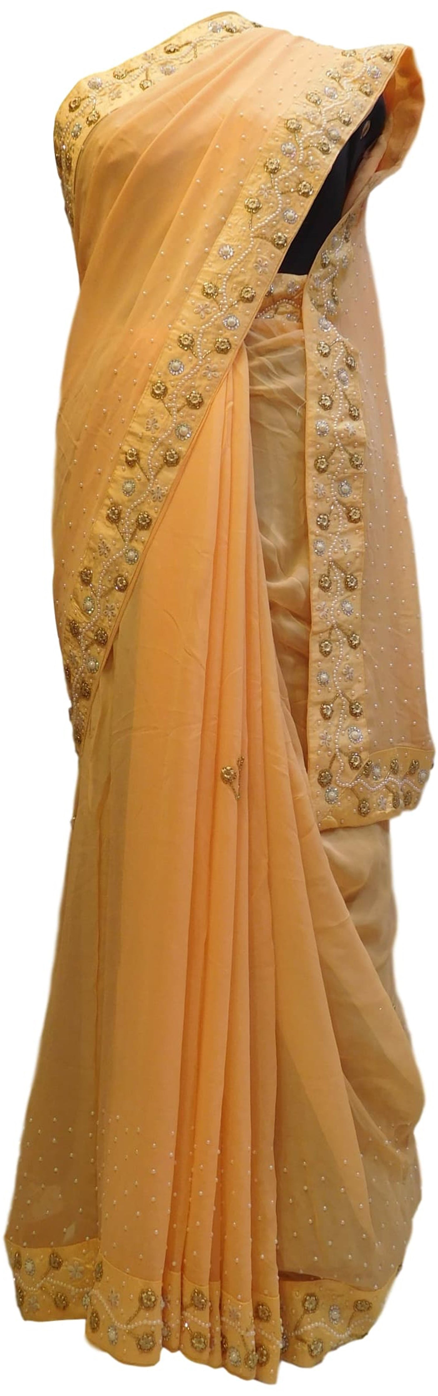Yellow Designer Georgette (Viscos) Hand Embroidery Cutdana Pearl Beads Stone Work Saree Sari