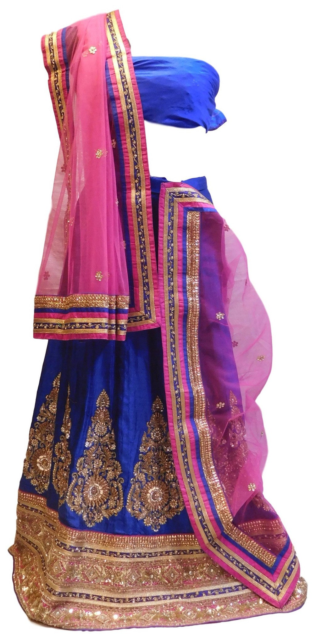 Pink & Blue Designer Bridal Raw Silk Lahenga With Net Dupatta