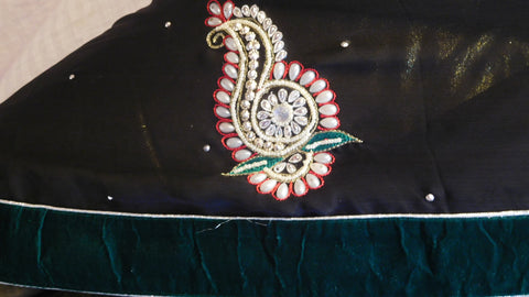 Black Designer Velvet Border Saree