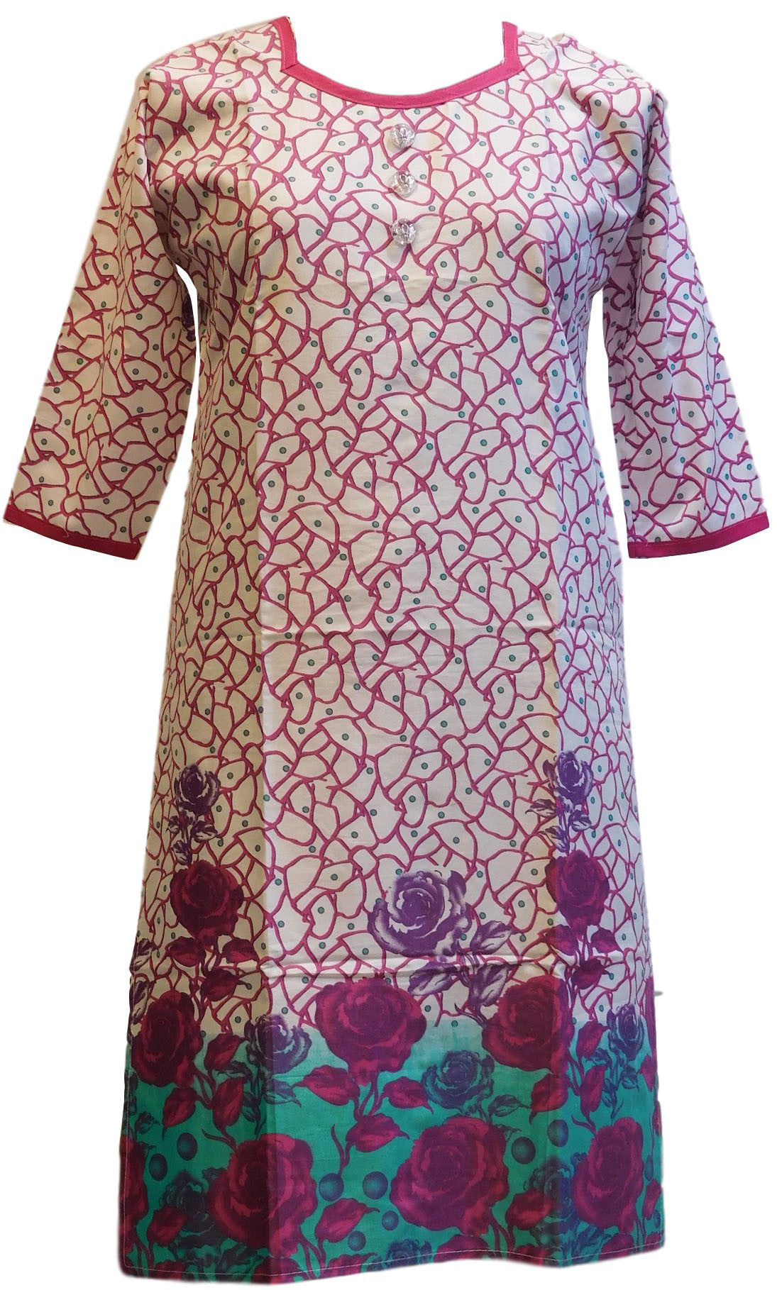 Merron & White Designer Cotton (Chanderi) Printed Kurti