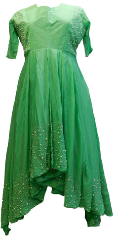 Green Designer Bridal Partywear Crepe (Chinon) Hand Embroidery Stone Pearl Gown Kurti