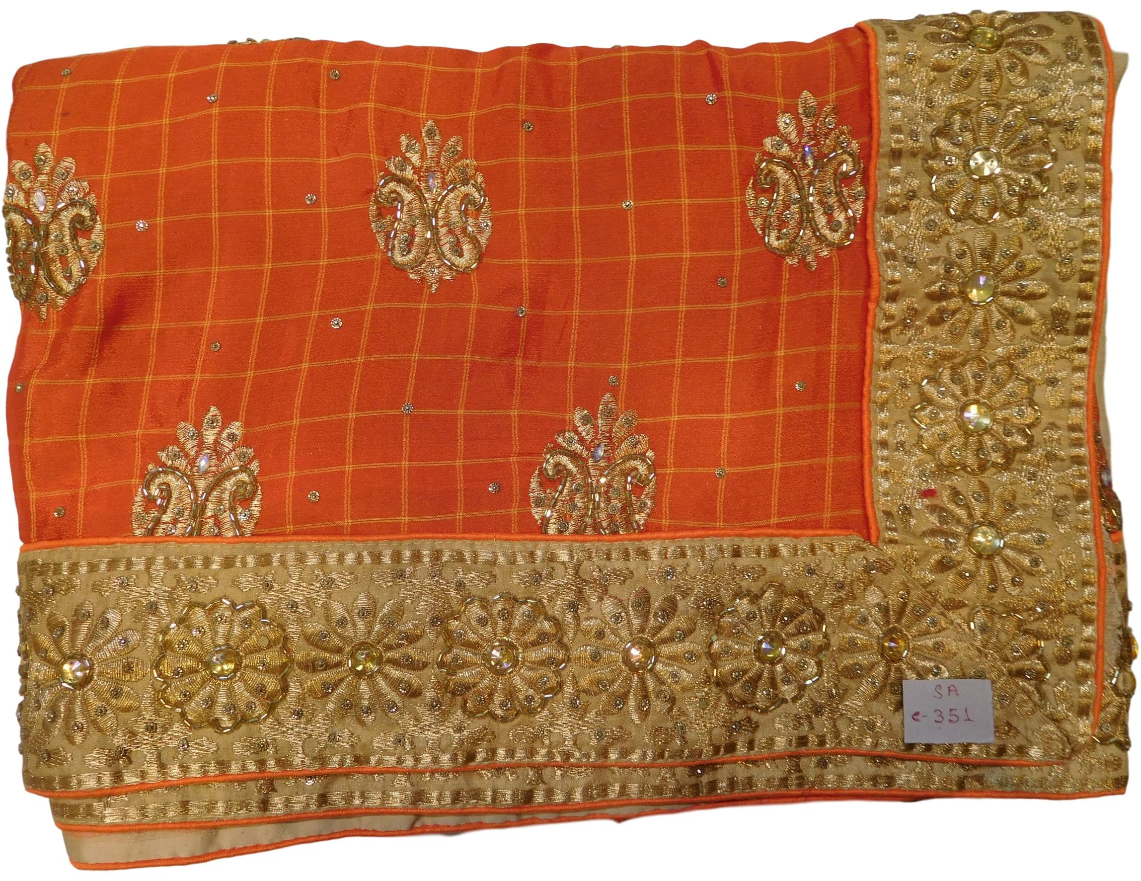 Orange & Cream Designer Georgette Sari Hand Embroidery Work Saree