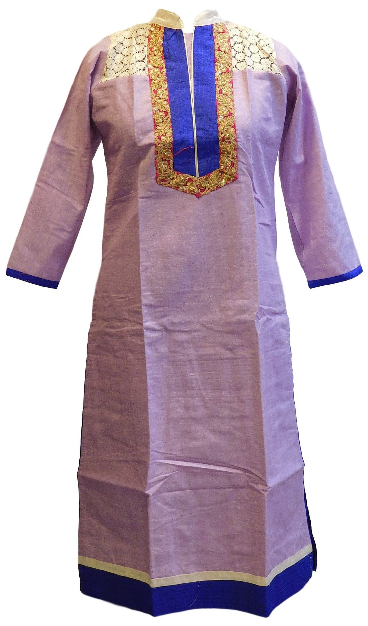 Violet Designer Cotton (Chanderi) Kurti With Blue Taping