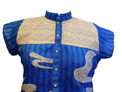 Blue Stylish Raw Silk Kurti