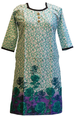 Green & White Designer Cotton (Chanderi) Printed Kurti
