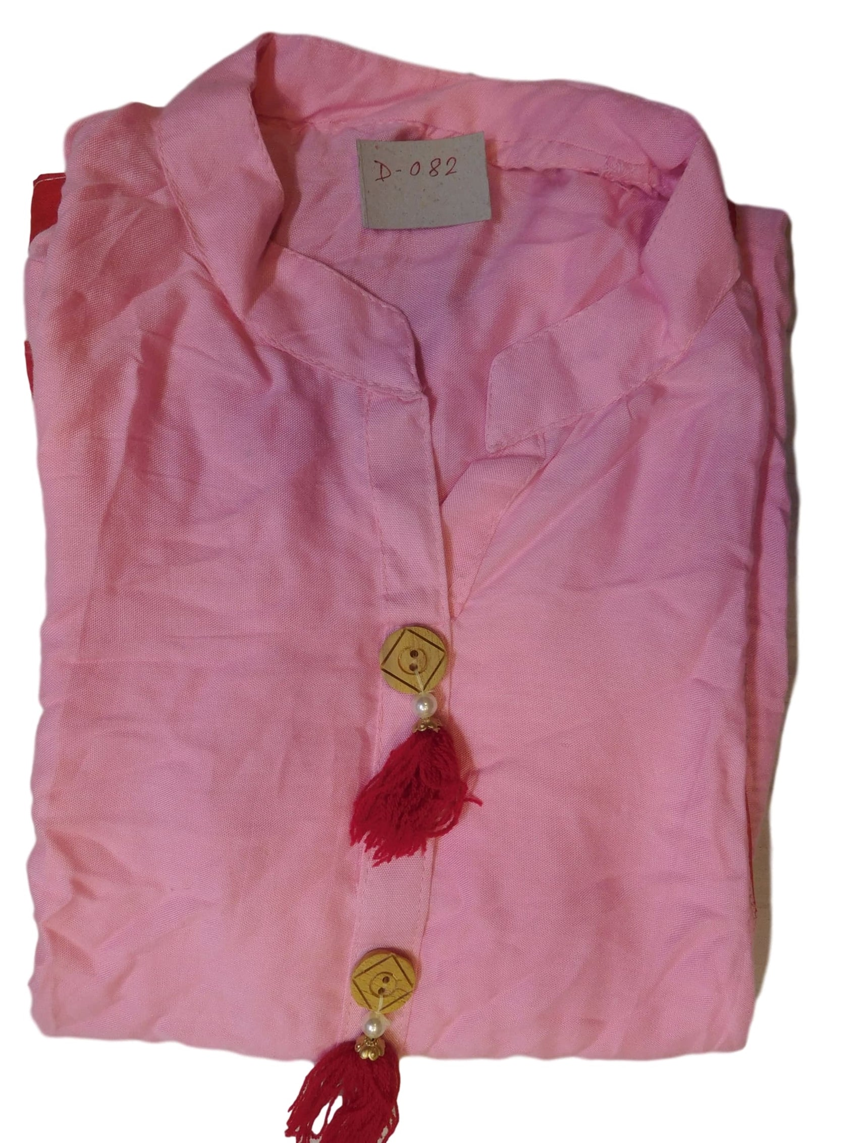 Baby Pink Designer Cotton (Rayon) Solid Colour Kurti Kurta With Red Pipin
