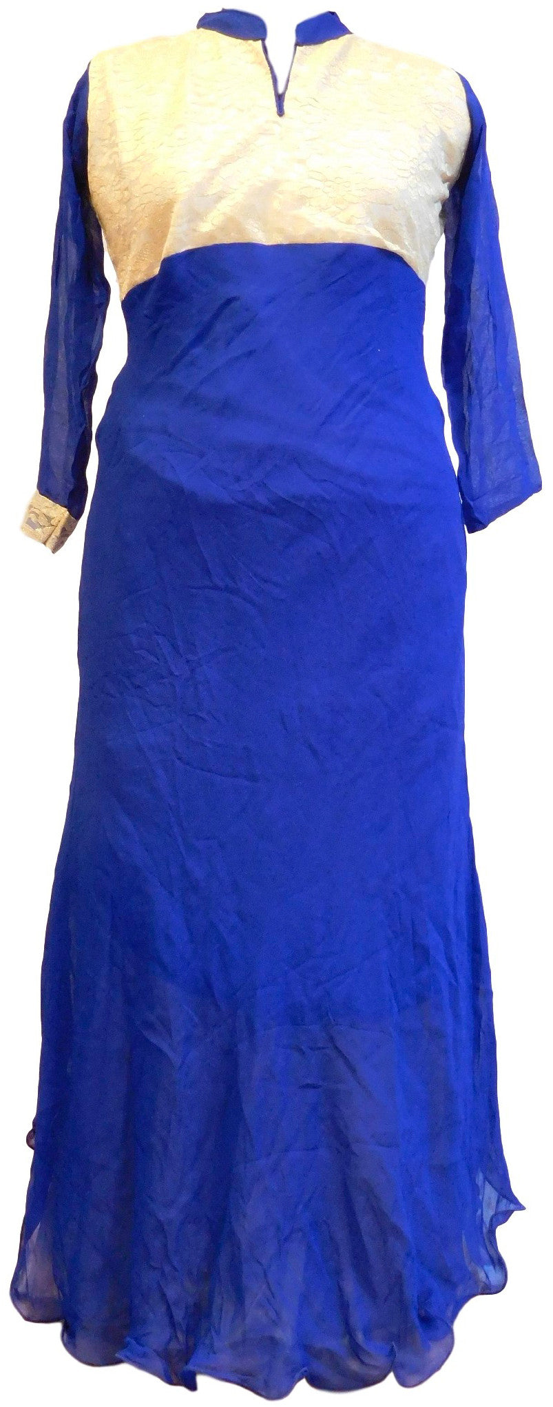 Blue & Golden Designer Georgette & Chantle Kurti