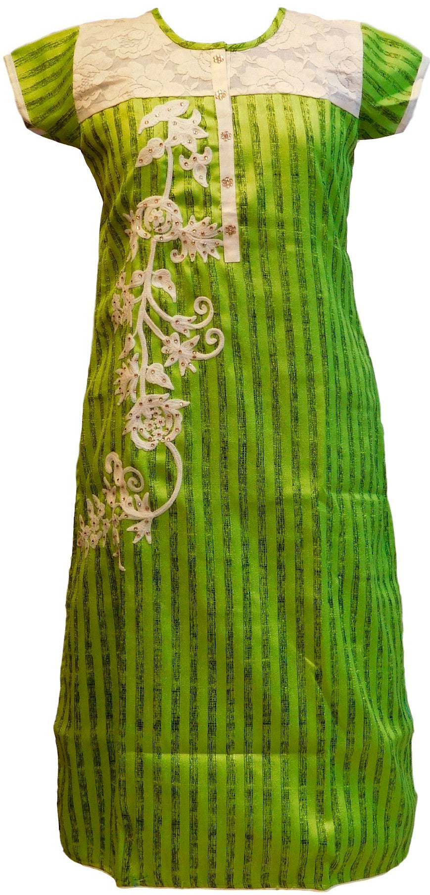Green Designer Raw Silk Kurti