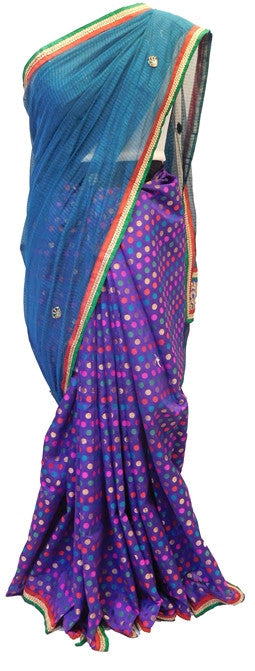Blue & Purple Designer Supernet Saree