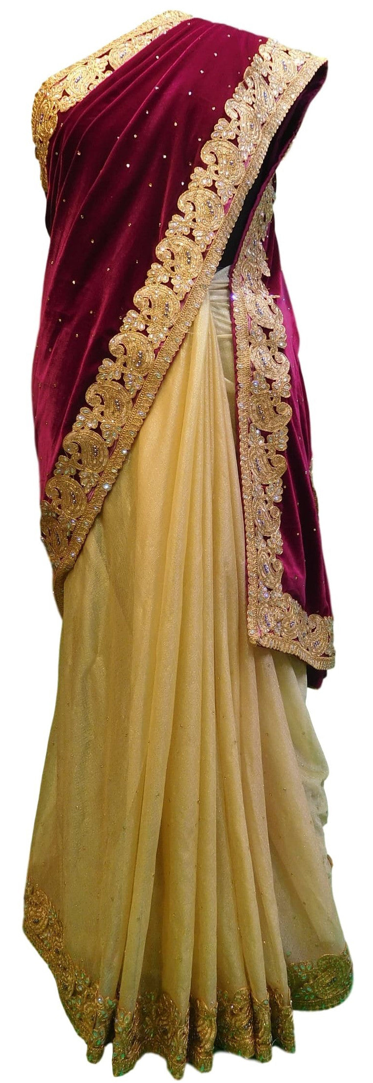 Wine & Cream Designer Velvet & Lycra Hand Embroidery Stone Border Sari Saree