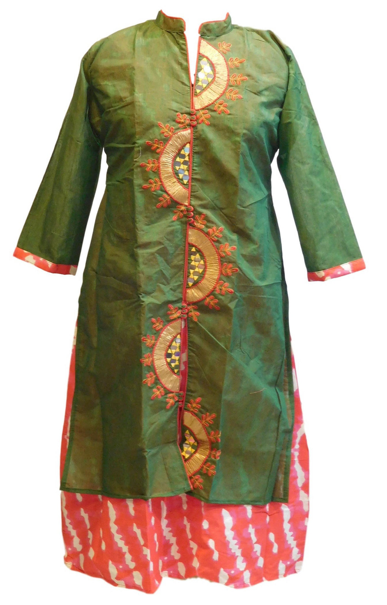 Green Designer Cotton (Chanderi) Gota Work Kurti With Attached Skirt