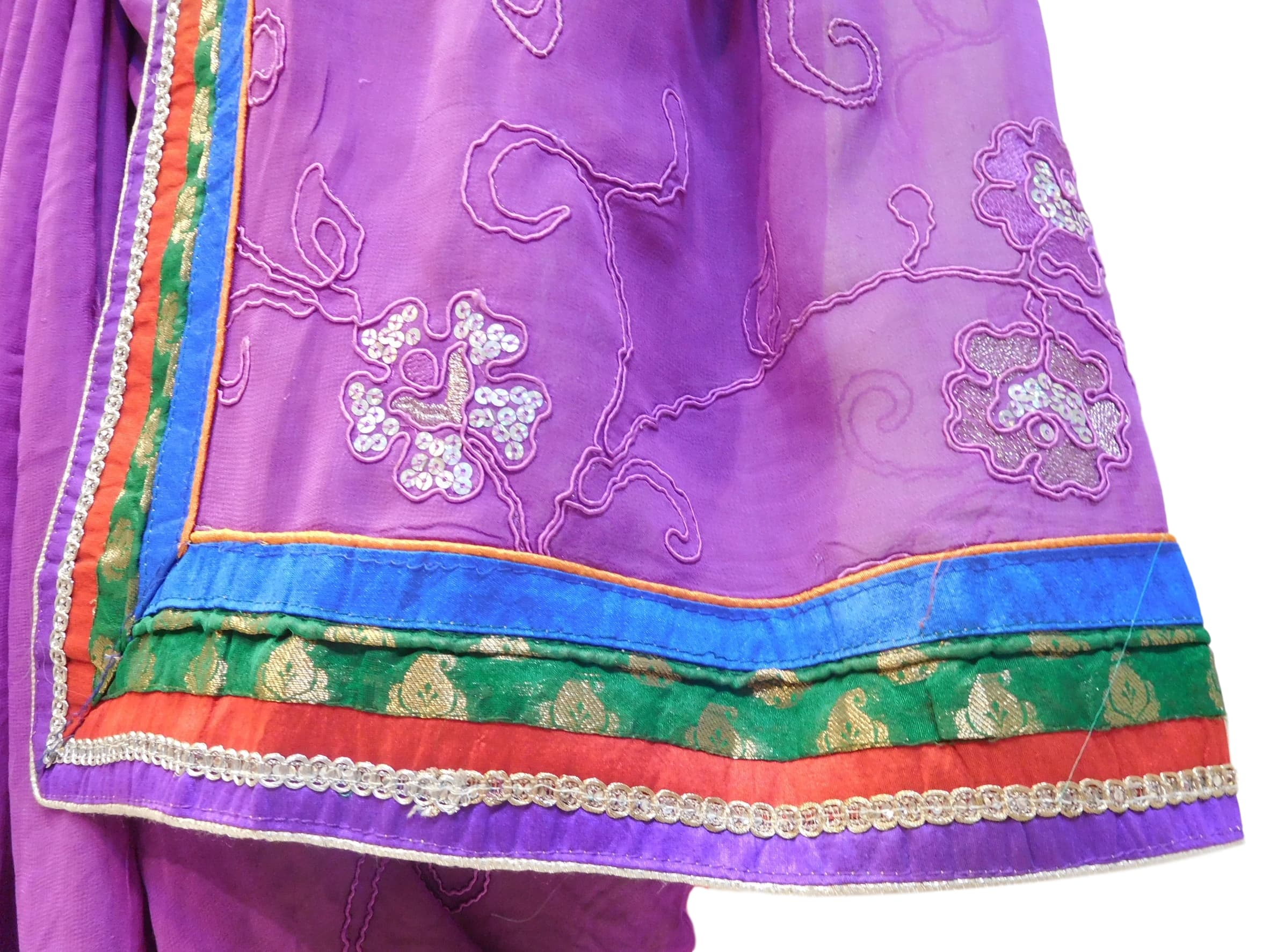 Violet Designer Georgette (Viscos) Hand Embroidery Zari Sequence Thread Work Saree Sari
