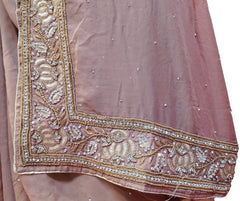 Coffee Brown Designer Georgette Hand Embroidery Heavy Border Sari Saree