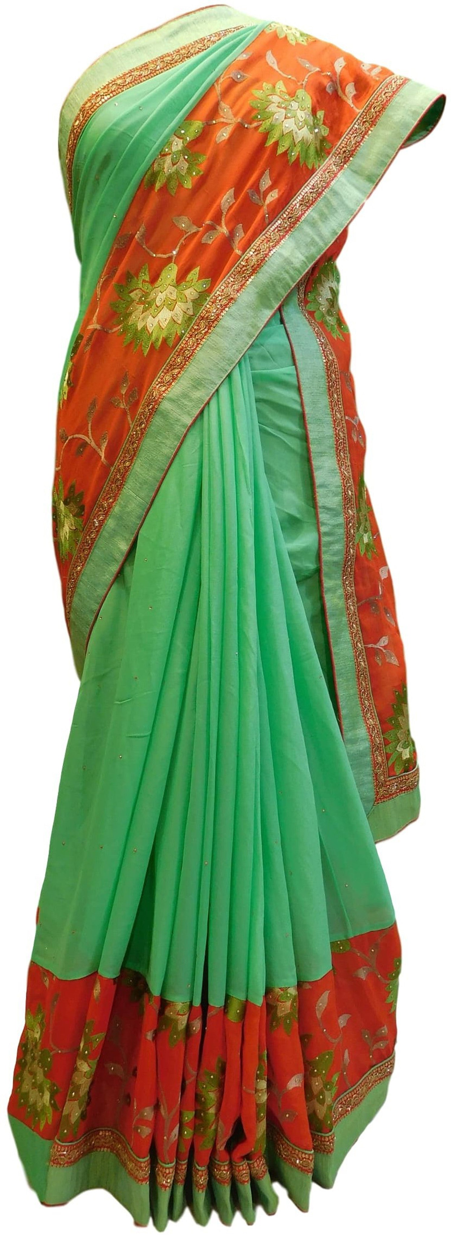 Green & Red Designer Wedding Partywear Ethnic Bridal Dupian Silk Hand Embroidery Stone Zari Bullion Sequence Thread Work Kolkata Women Blouse Saree Sari SAC352