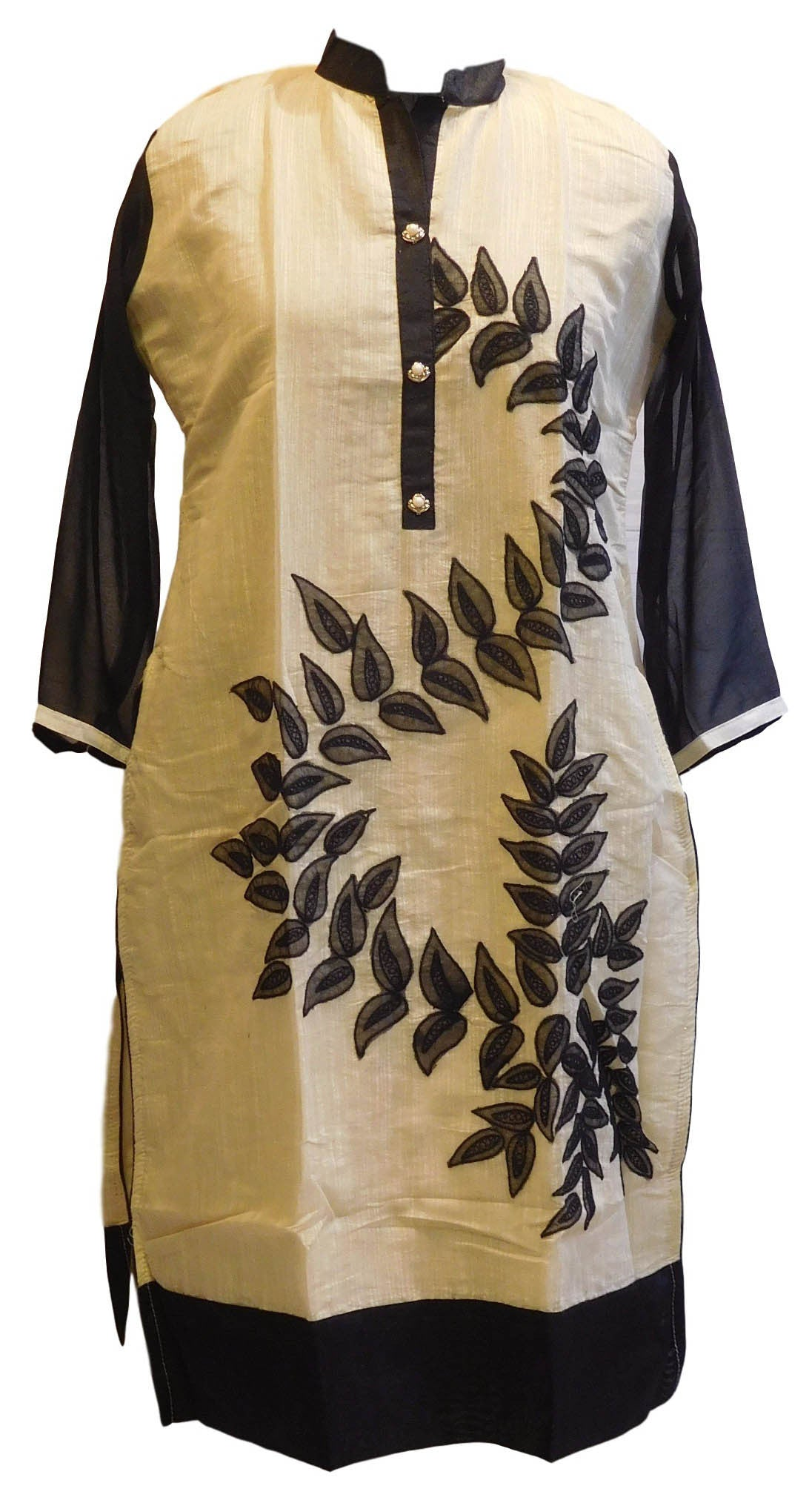 Cream & Black Designer Cotton (Chanderi) Kurti With Georgette Sleeves