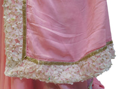 Pink Designer Crepe (Chinon) Hand Embroidery Cutdana Sequence Thread Stone Work Saree Sari With Stylsih Stitched Satin Blouse