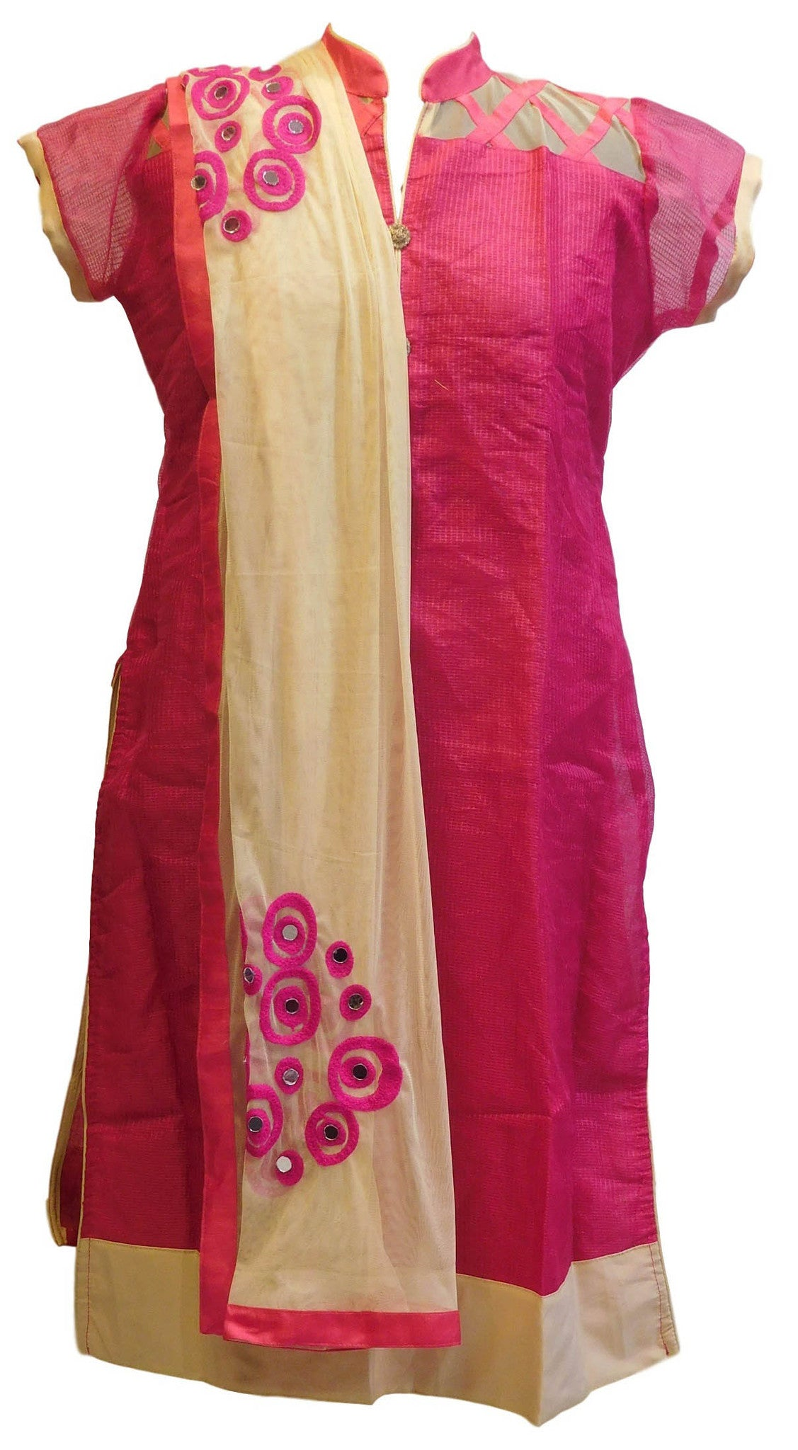 Pink Designer Cotton (Chanderi) Kurti With Beige Chiffon Dupatta