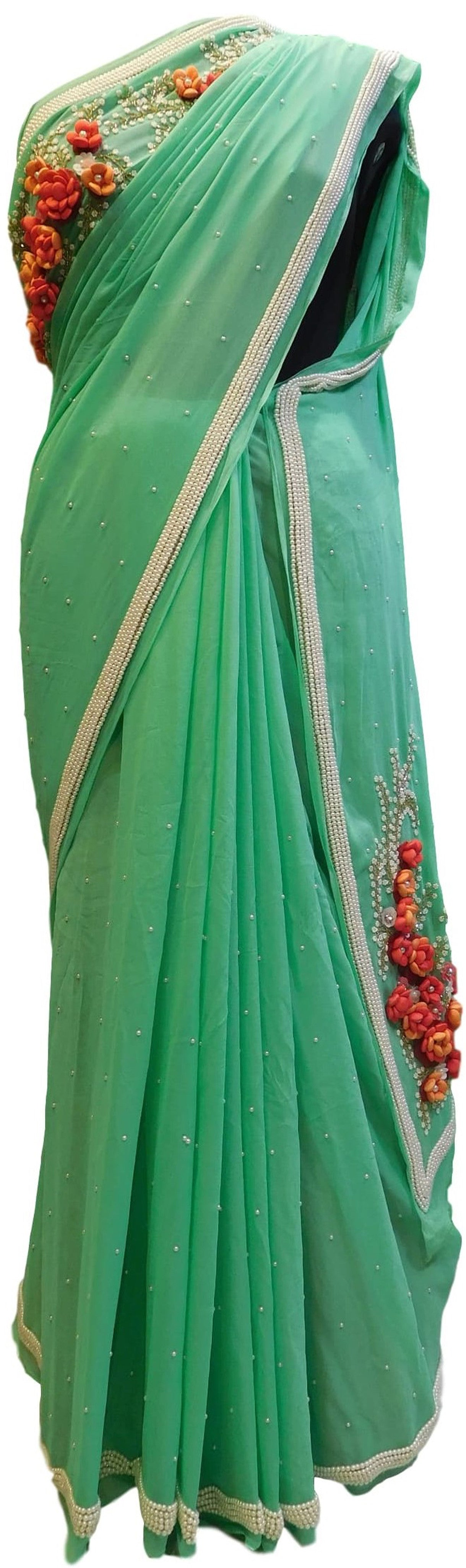 Green Designer Bridal Georgette Sari Hand Embroidery Work Saree