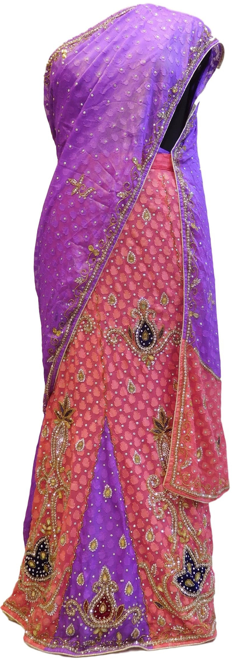 Purple & Pink Designer Bridal Georgette Lahenga Style Hand Embroidery Work Saree Sari