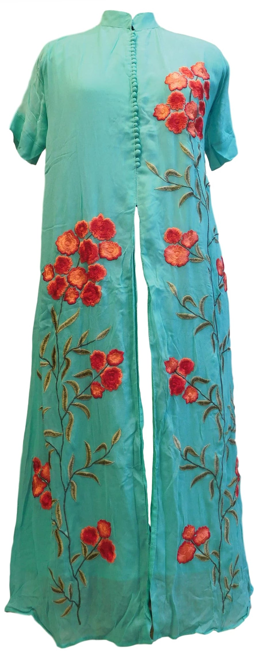 Turquoise Designer Georgette (Viscos) Embroidery Thread Work Kurti Kurta With Printed Chiffon Dupatta