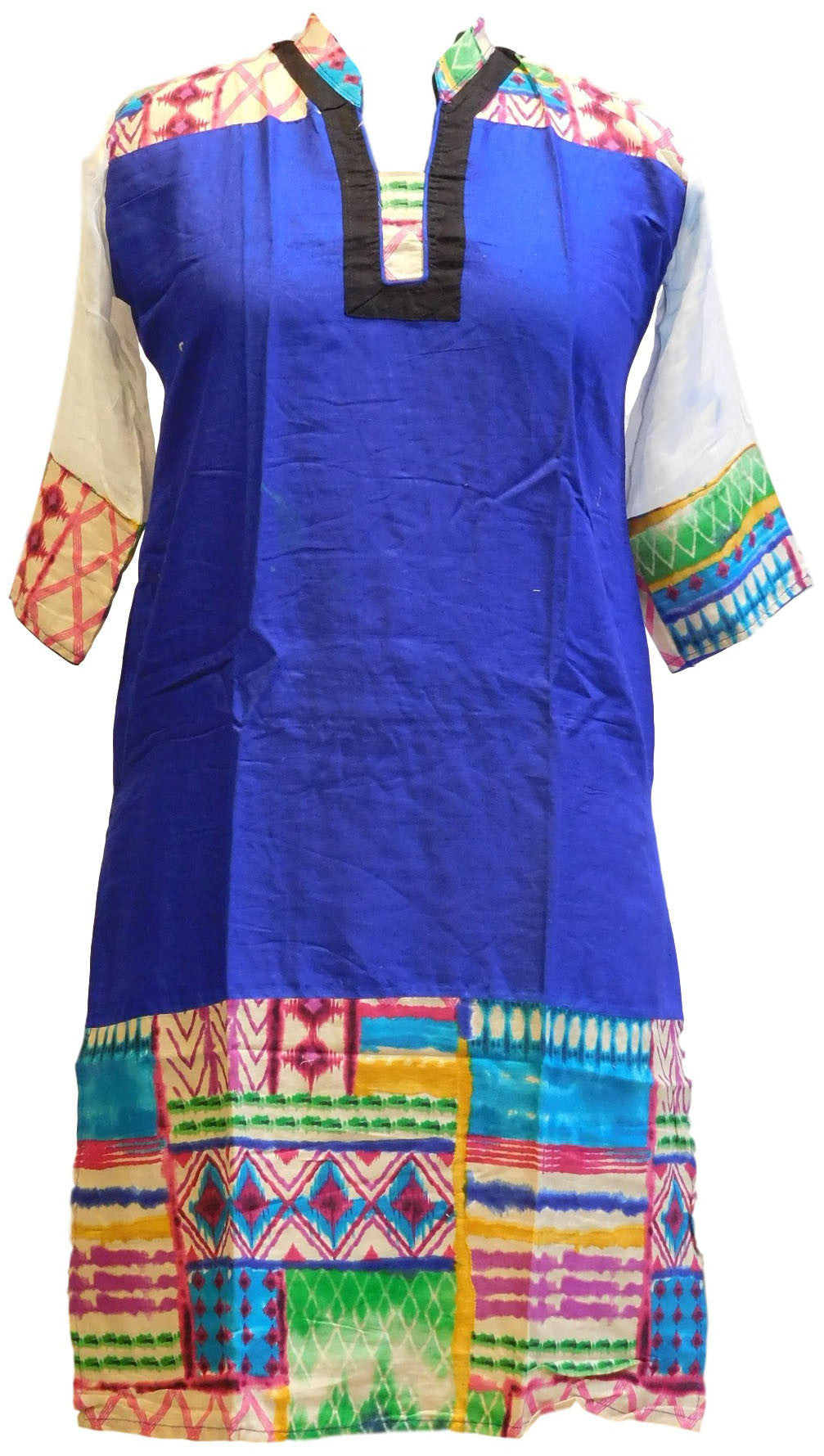 Blue, Black & White Designer Cotton (Chanderi) Printed Kurti