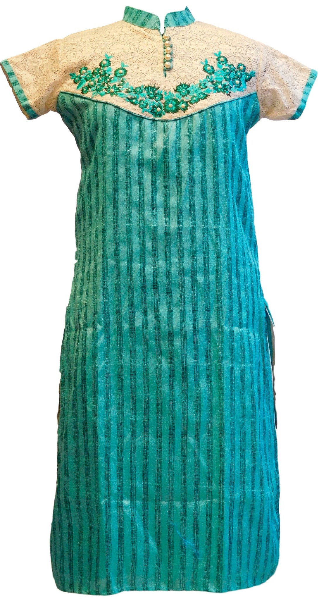 Turquoise Stylish Raw Silk Kurti