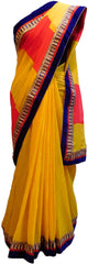 Yellow & Red Designer Georgette Saree
