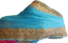 Pink & Turquoise Designer Georgette Thread Embroidery Sari Saree