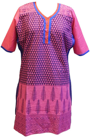 Merron Designer Cotton (Chanderi) Printed Kurti