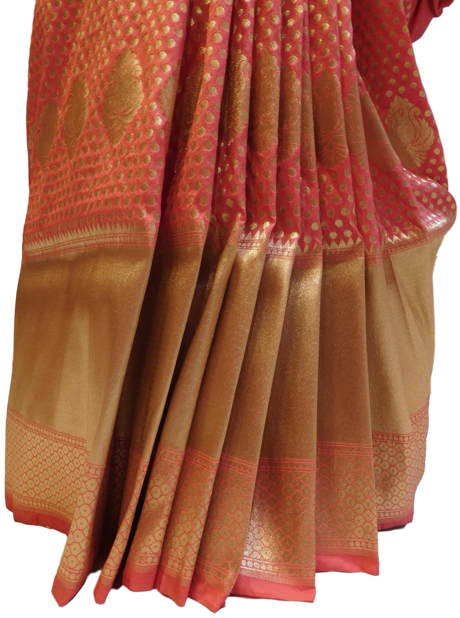 Gajari Traditional Designer Bridal Hand Weaven Pure Benarasi Zari Work Saree Sari With Blouse