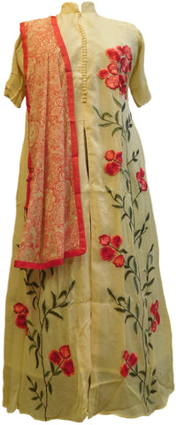 Beige Designer Georgette (Viscos) Embroidery Thread Work Kurti Kurta With Printed Chiffon Dupatta