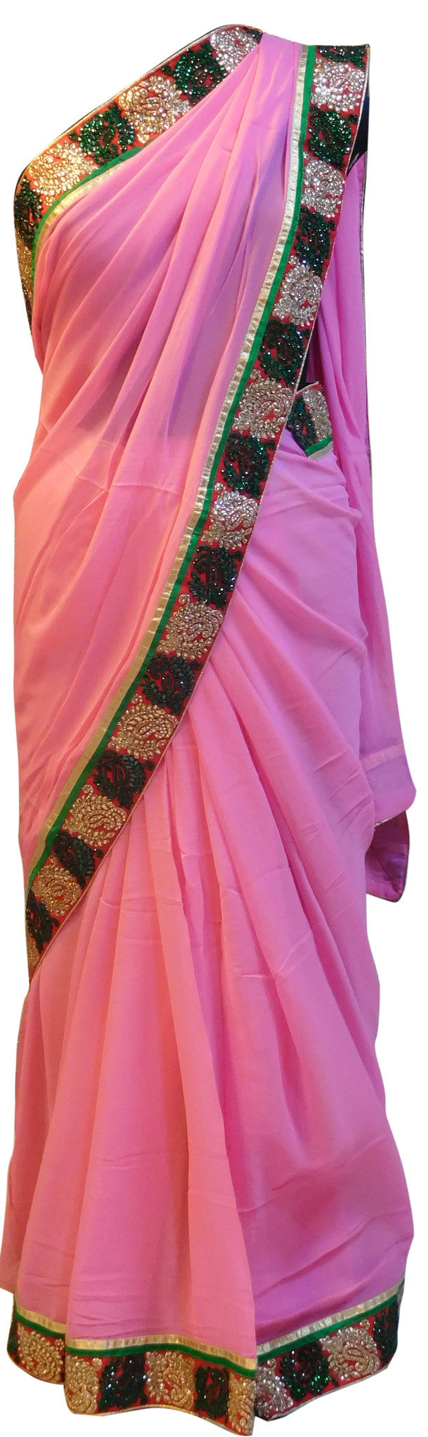 Pink Stylish Border Saree