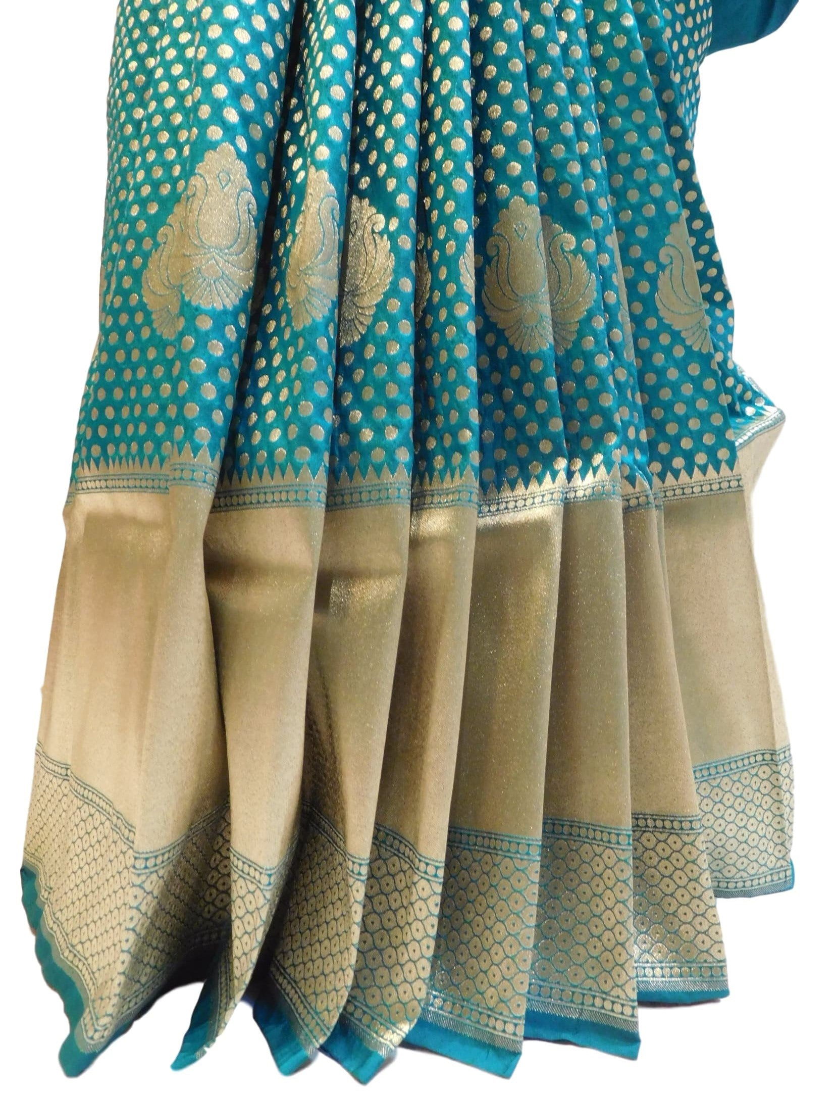 Sea Green (Rama Green) Traditional Designer Bridal Hand Weaven Pure Benarasi Zari Work Saree Sari With Blouse