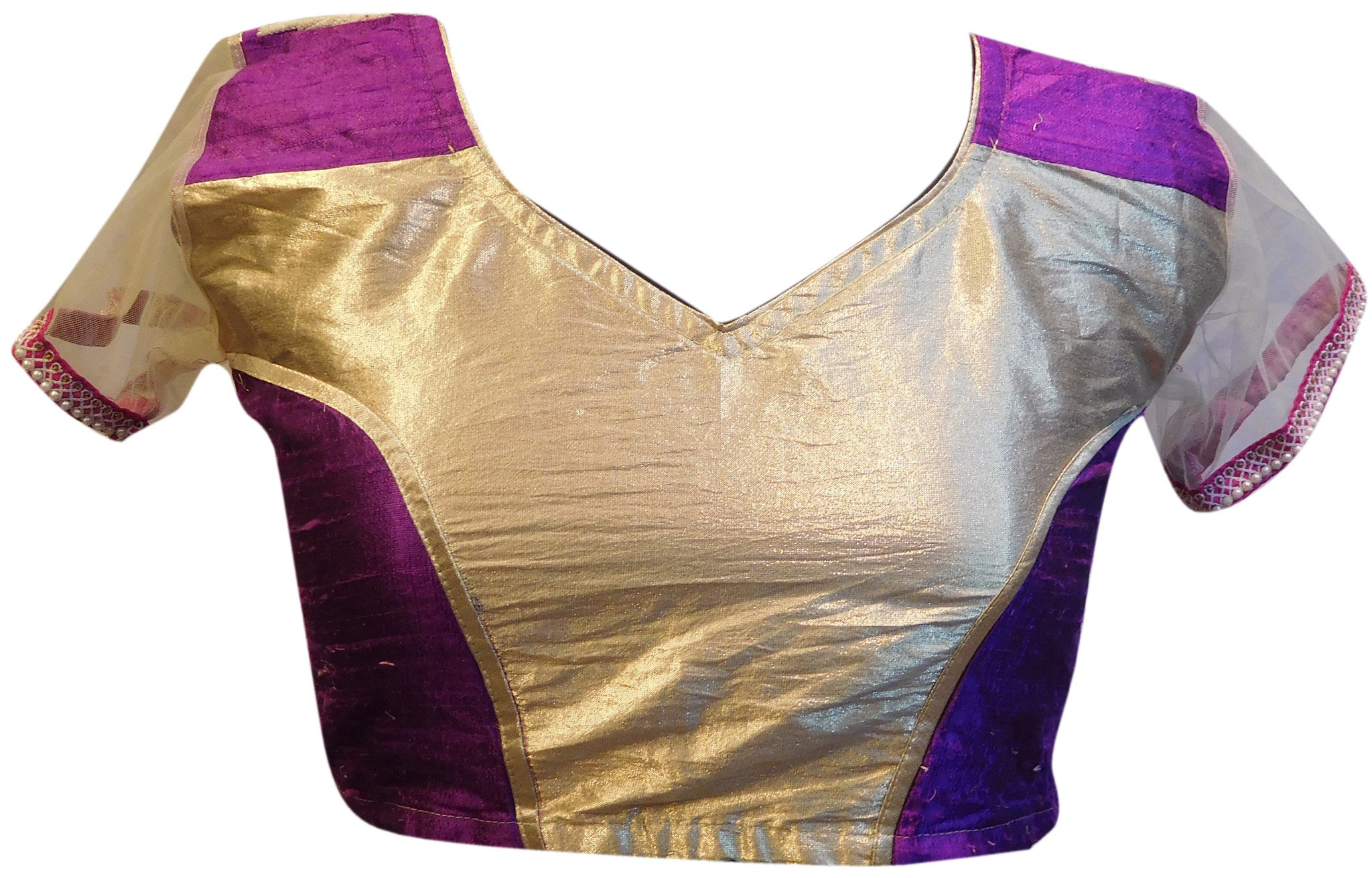 Purple and Golden Designer Blouse
