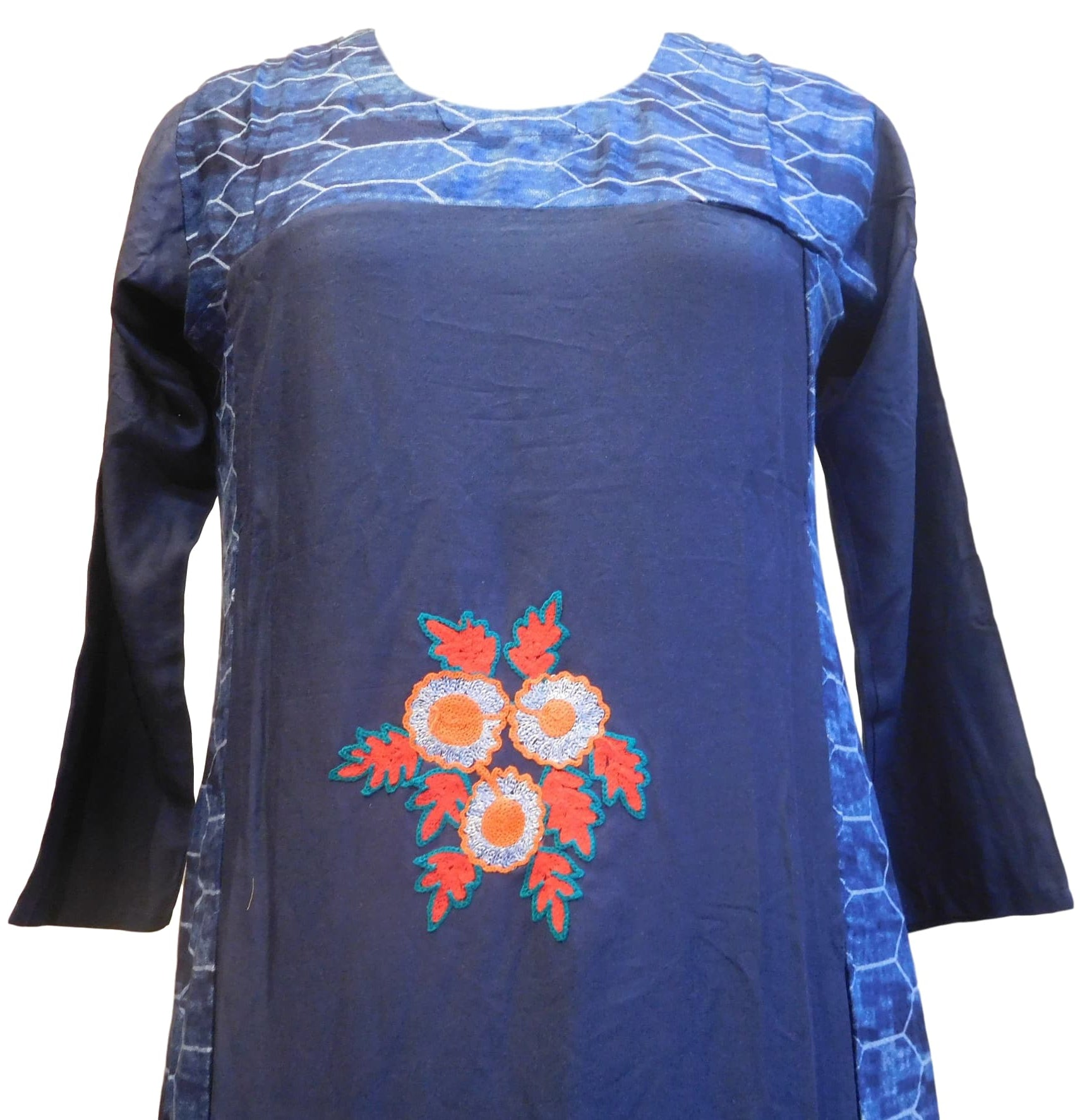 Blue Designer Cotton (Rayon) Printed Thread Work Kurti Kurta