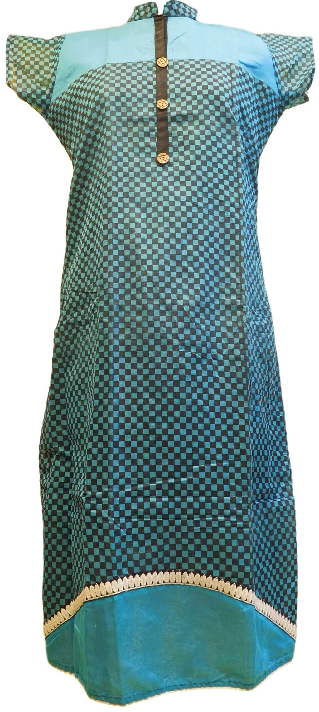Blue & Black Designer Cotton (Chanderi) Kurti