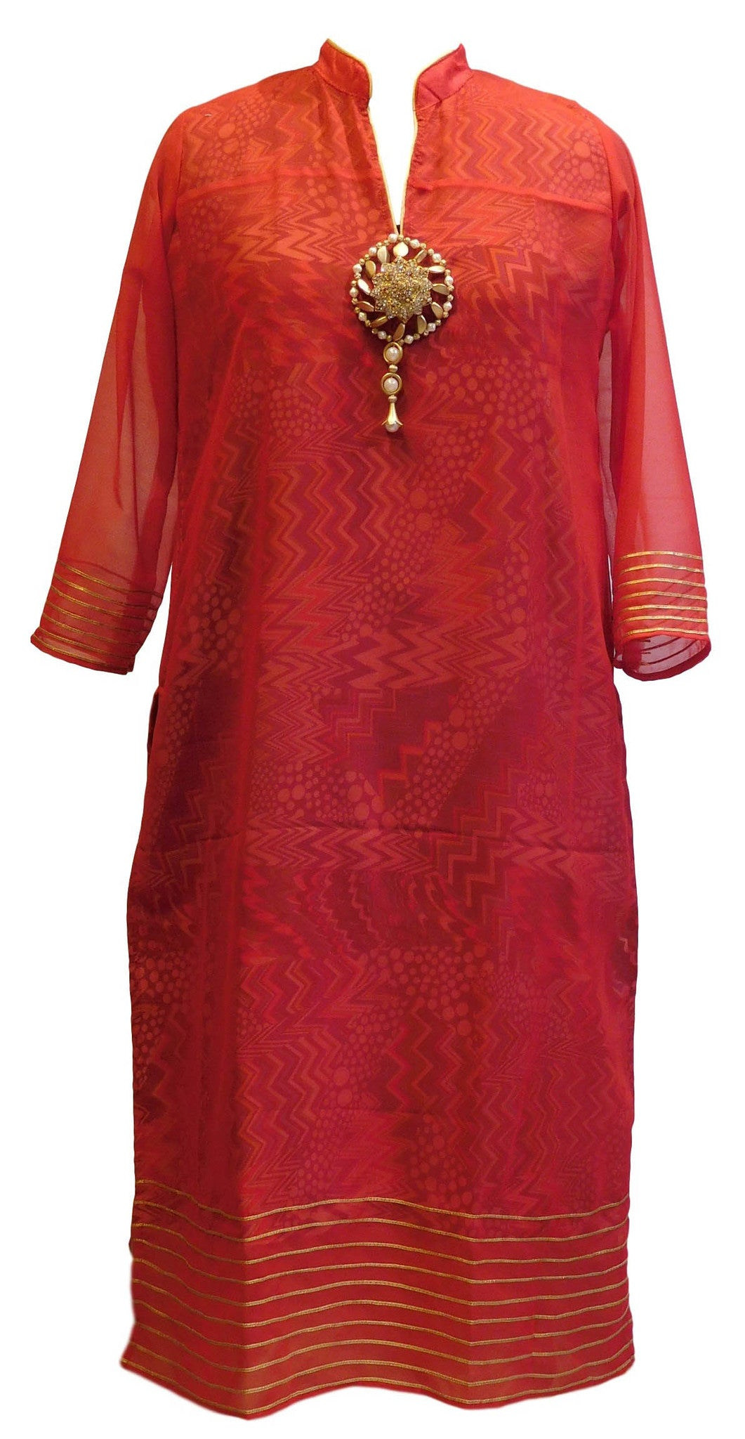 Red Designer Georgette (Viscos) Kurti
