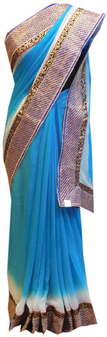 Blue & White Designer Saree
