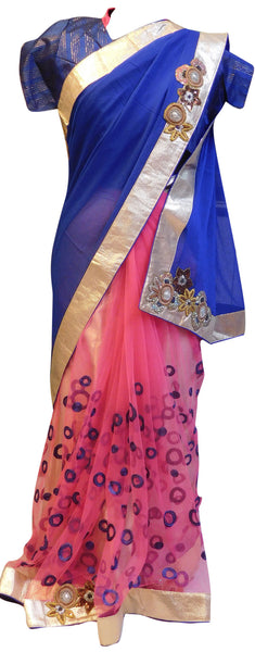 Blue Pink Designer Saree With Stylish Blouse