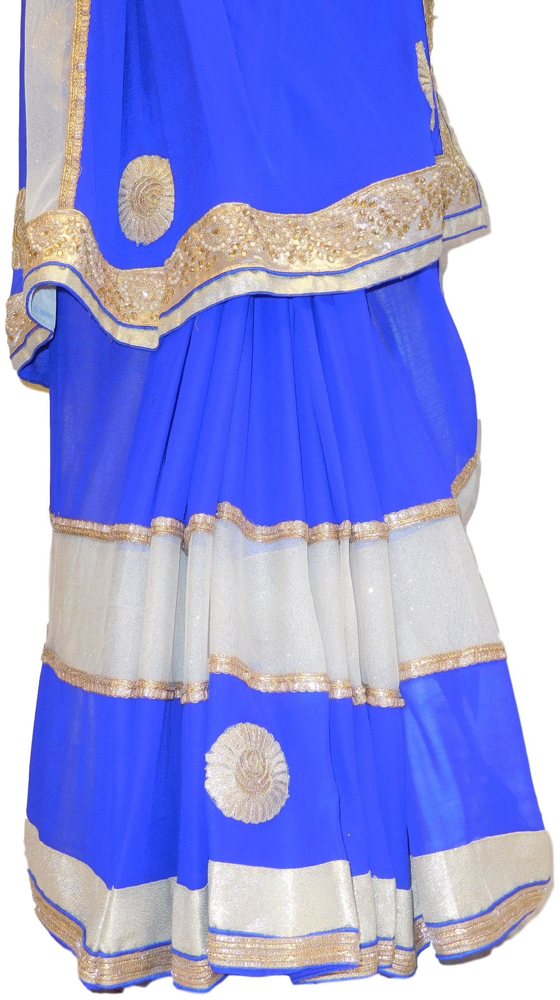 Blue & Cream Designer Georgette Saree