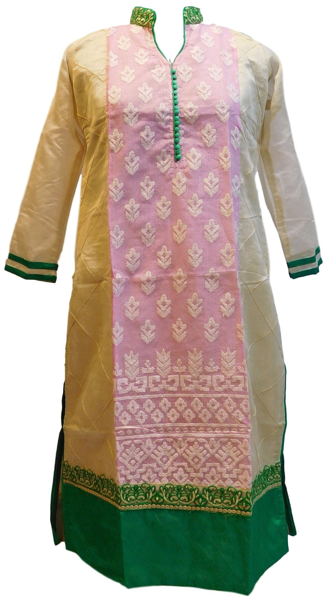 Pink & Cream Designer Cotton (Supernet) Kurti