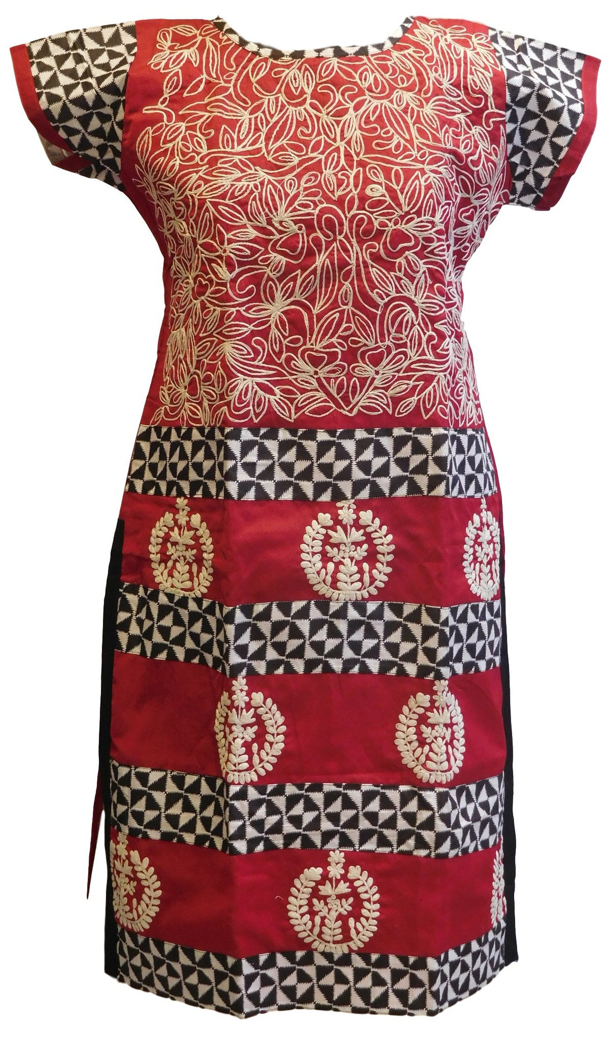 Red & White Designer Cotton (Chanderi) Kurti